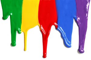 Colorful inks dripping